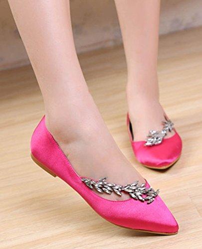 Aisun Damen Strass Spitz Satin Flache Schuhe Slipper Loafers Pink 41 EU 1TeRFyy1KE