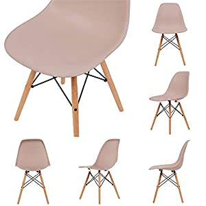 OCHS Retro Eiffel Dining Chair Plastic Seat with Wood Legs for Office Lounge Dining Kitchen Bedroom (Pastel Pink, Natural Legs)