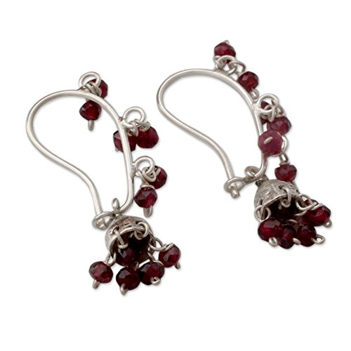 NOVICA Garnet .925 Sterling Silver Chandelier Jhumki Style Hook Earrings Music