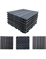Abba Patio 12.4 x 12.4 Inch Outdoor Four Slat Interlocking Floor Decking Tile, 6 Pieces One Pack, Dark Grey