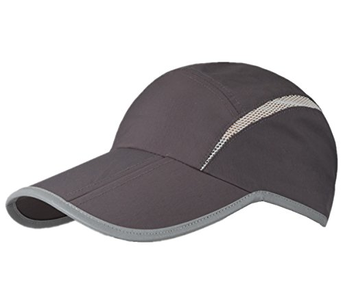 Connectyle Foldable Mesh Sun Cap Outdoor Sports Hat Breathable Sun Runner Cap with Reflective Trim,Dark Grey,55-60cm/21.5-23.5inch