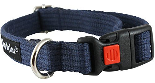Organic Cotton Web Adjustable Dog Collar with Locking Device 4 Sizes Blue (Small: Neck 11.5