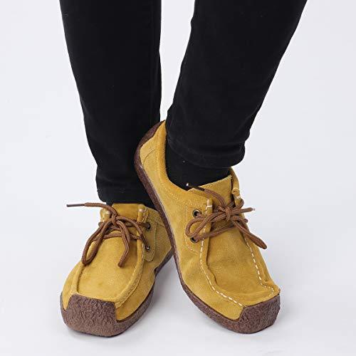 Mujer 6 Cosida Casuales Cuero Las TM Zapatilla a Amarillo la Genuino Jipai de Mano Zapatos de Deporte de Colores de de Gamuza Planos de Mujeres AUgWcwq5
