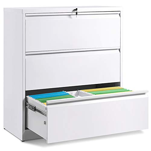 (3 Drawers White Lateral File Cabinet with Lock, Lockable Heavy Duty Filing Cabinet, Steel Construction)