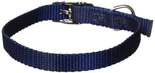 Hamilton Single Thick Nylon Deluxe Dog Collar, 3/8 by 14-Inch, Navy - Hamilton Navy Collar Dog
