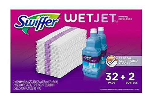 Swiffer Wetjet Mopping Refill Pack, 32 Refill Pads plus 2 Bottles of Cleaner 1.25L ea.