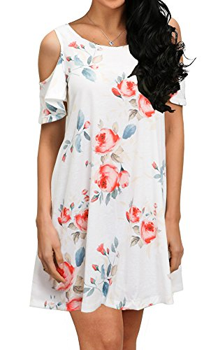 QIXING Women's Casual Plain Short Sleeve Simple T-Shirt Loose Floral Print Dress White-M ()