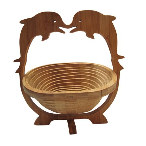 Dolphin Bamboo Patterns - AUCH Folding&Collapsible Bamboo Basket Expandle Fruit Bowl Flat Fruit Stores Holder/Dish/Container, Dolphin Pattern