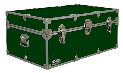 C&N Footlockers Happy Camper Storage Trunk - Summer Camp Chest - Durable with Lid Stay - 32 x 18 x 13.5 Inches (Dark Green)