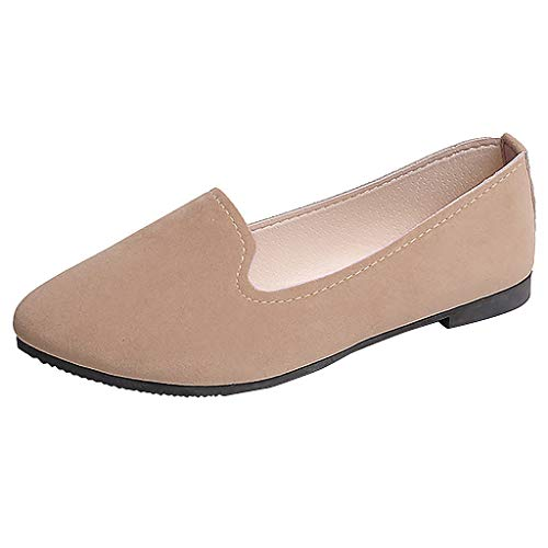 (ONLY TOP Women's Classic Flats Memory Foam Cushioned Soft Daily Slip-on Casual Sneaker Flat Shoes Khaki)