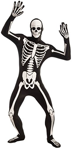 Forum Novelties Men's Disappearing Man Patterned Stretch Body Suit Costume Glow-In-The-Dark Skeleton- Large, Black/White, Large/X-Large - Skeleton Spandex Bodysuit