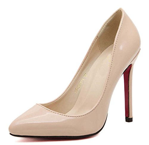Katypeny Women's Fashion Sexy Shallow Mouth Pointed Toe Slip On High Heeled Pumps Dress Shoes Nude Patent Leather 12 M US