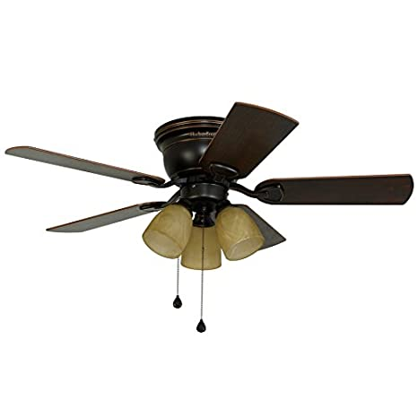 3 light ceiling fan low profile harbor breeze centreville 42in oilrubbed bronze indoor flush mount ceiling fan with