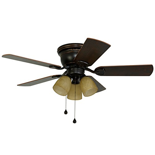Harbor Breeze Centreville 42-in Oil-Rubbed Bronze Indoor Flush Mount Ceiling Fan with Light Kit by Harbor