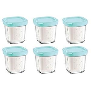 Seb Xf100101 Lot De 6 Pots De Yaourts Verre Couvercle Bleu Avec