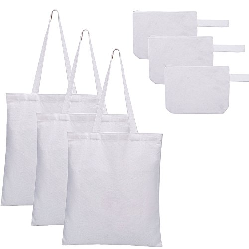 - Cherrboll Natural Canvas Tote Bag + Multi-purpose Zipper Pouch Purse (3-Pack), Reusable Grocery Bags Blank Art Craft DIY Eco Totes for Women