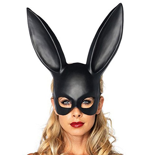 Matte and Bright Easter Party Rabbit Ears Halloween Party Animal Costume Prop Half Face Masks Nightclub Bar Masquerade Cosplay Moive Gift (Matte Black)