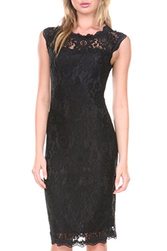 Lace Lined Little Black Dress - Stanzino Women's 2609BLACKL Sleeveless Lace Dress, Black, L