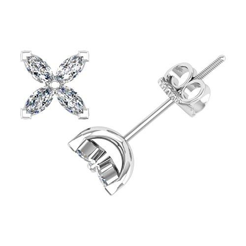 14k White Gold Butterfly-shaped Marquise Shape Diamond Stud Earrings (1/4 Carat) - IGI Certified