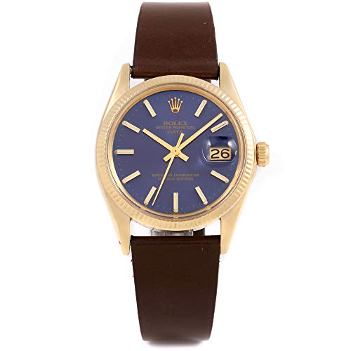 Rolex 1503 Mens/Ladies 34mm Date Model - Blue Dial - Leather Band (Certified Pre-Owned) ()
