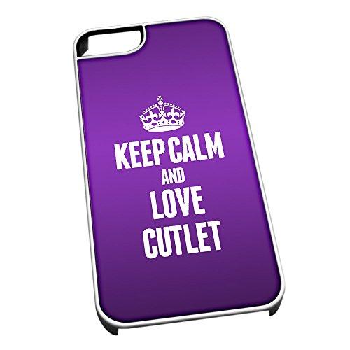Bianco Cover per iPhone 5/5S 1030Viola Keep Calm And Love cotoletta