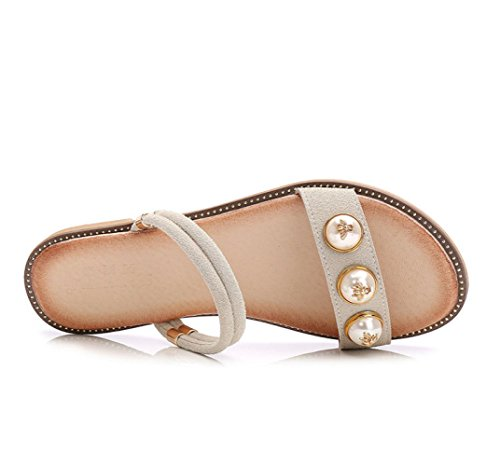 Aqua Bohemia Sandals Flat Bottom Student Minimalist Wild Womens Slipper White gNDNQ