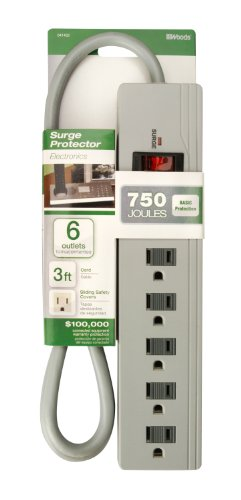 Woods 041452 6-Outlet Surge Protector with 3-Foot Cord, 750 Joules of Protection Photo #2