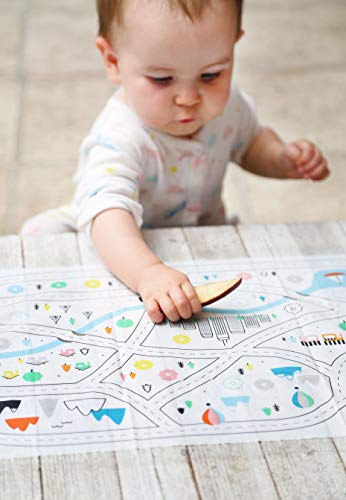 Disposable Placemats for Baby Toddlers Kids, Table Topper Disposable Placemats - Biodegradable BPA-Free Premium Super Sticky Stick-on Place Mats - Roadmap by Mini Explorers (60 Count) by Mini Explorers (Image #2)