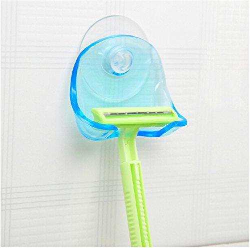 Pack Of 2 Blue Plastic Super Suction Cup Razor Rack Bathroom Razor Holder Suction Cup Shaver Storage Rack