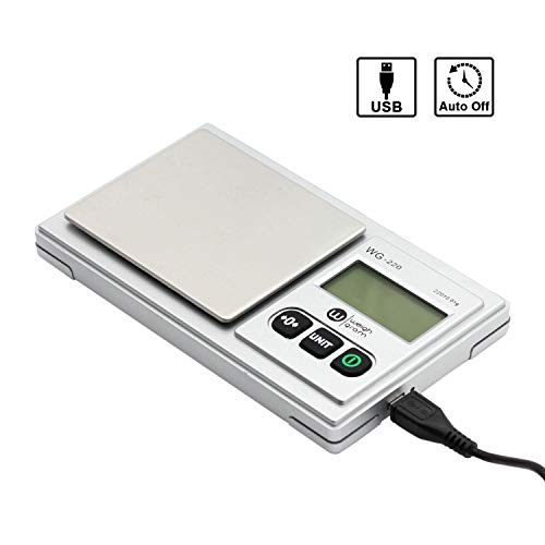 Gram Scale 220g/ 0.01g, Digital Pocket Scale 100g calibration weight,Mini Jewelry Scale, Kitchen Scale,6 Units Conversion, Tare & LCD Display, Auto Off, Rechargeable Battery