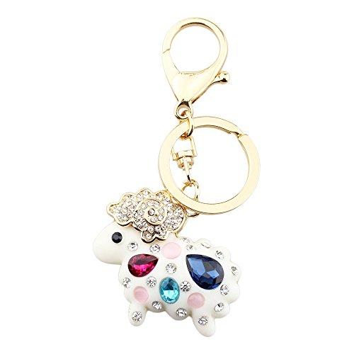 Zodiac Sheep - FOY-MALL Cute 12 Zodiac Sheep Opal Crystal Rhinestone Alloy Resin Women Car Keychain H1014