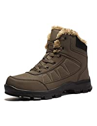 AIRIKE Mens Hiking Boots Snow Boots Waterproof Insulated with Fur Antislip Work Boots