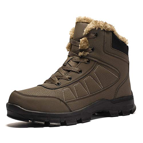 AIRIKE Mens Hiking Boots Snow Boots Waterproof Insulated with Fur Antislip Work Boots Brown