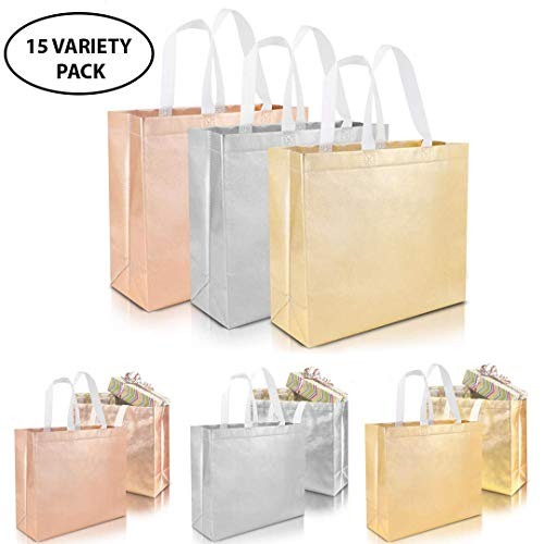 Set of 15 Stylish Reusable Grocery Bags Christmas Shopping Tote Bag Non-woven Durable Fabric Gift Bag with Handle Glossy Present Bag For Party Event, Birthday Wedding (Silver, Gold Rose, Gold)
