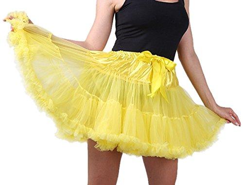 Tulle Ballet pour dentelle Cosplay jupe Princesse Danse Multicolore Pliss optique Soire Femme Bouffe Jupe Multi Uni Courte FEOYA Tutu en Jaune couche Costume Jupon Mini xIEHpaqw