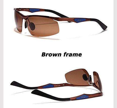 polarizadas gafas UV400 de de Los sol TAC gafas polarizadas de del TIANLIANG04 coche piloto de gafas de aluminio bastidor hombres Brown negro sol magnesio 7qwW8vxA