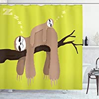 Ambesonne Sloth Shower Curtain, Cartoon Mother Sleeping on Branch with Kid Sloth on Her Back Carefree Family, Cloth Fabric Bathroom Decor Set with Hooks