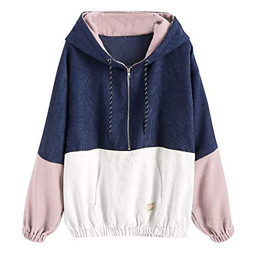 kemilove Girls's Classic Shade Block Jacket Hooded Raglan Sleeve Outsized Corduroy Outwear Navy