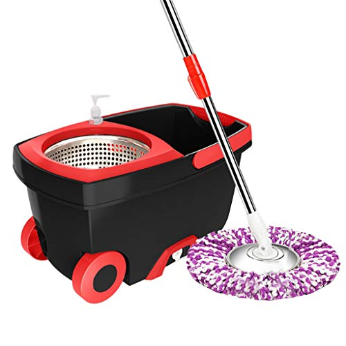 AckfulUpgraded Stainless Steel Microfiber 360 Rotating Mop and Bucket Kit Floor Clean (Black)