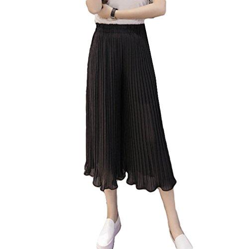 t Soie Pliss Pantalons Boho Casual Jambe Pantalons de Mode Pantalon Mousseline Noir Couleur Elastique Taille Femme Cheville Confortable Leggings Large Longueur Unie txUEFtw