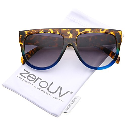zeroUV Large Oversize Wide Temple Flat Top Aviator Sunglasses Yellow Tortoise Blue/Lavender, 57 mm