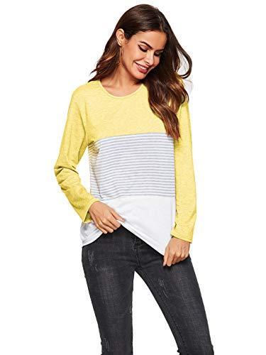 Style Amoretu Femme Yellow Chemise Haut Tops 3 Shirt T Casual 16Cwq01