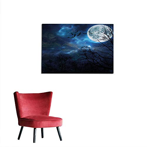 kungfu Decoration Wall Sticker Decals Halloween,Bats Flying in Majestic Night Sky Moon Nebula Mystery Leafless Trees Forest,Blue Black White Poster Print W23.6 x L19.7