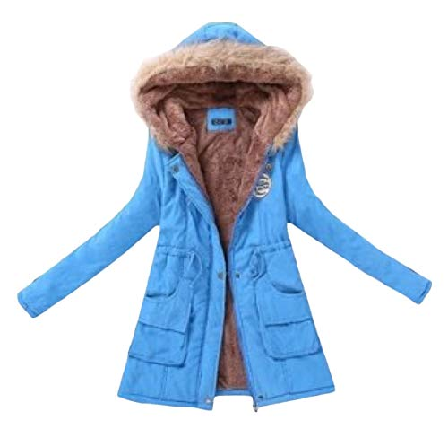 EnergyWomen Drawstring Sleeve Pocketed Long Blue Long Jacket Parka Velvet Mid Lake PPdAqx1r
