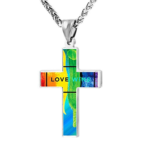 KBogirl LGBT Love Wins Rainbow Gay Cross Necklace for Men & Women with Pendant Chain