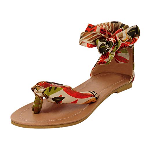 Respctful✿Summer Flat Sandals Bohemian T Strap Thong Shoes Casual Slip-On Ankle Wrap Flat Sandals Yellow (Revolution Bohemian)