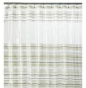 J Queen New York Peek A Boo Stripe Vinyl Shower Curtain Clear Grey White Black