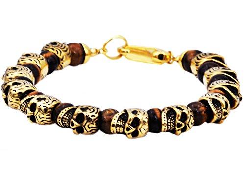 Blackjack Jewelry Men's Genuine Gemstone Stainless Steel Skull Bead Bracelet (Gold/Brown (Tiger eye)) - Gold Brown Tigers