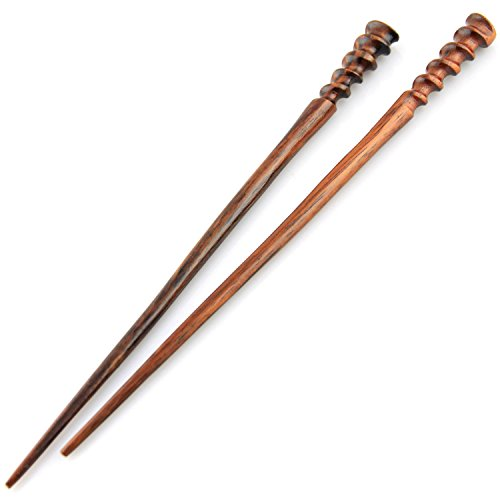 Hand Carved Fine Wood - Evolatree Natural Hair Pin Chopsticks - Pair of Spiral Hair Sticks for Women and Men - Hand Carved Wood Styling Pin Set - Fine Cut Spiral - 7.5 Inches Long