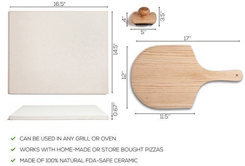 Pizza Stone Set for Baking & Cooking Pizzas & Bread in Oven, Grill or BBQ - Rectangular Stone 16.5''x14.5'', Wood Pizza Peel & Brush - Large Ceramic Pan Cooks Pizza Evenly & Gives Crispy Crust by Kenley (Image #5)